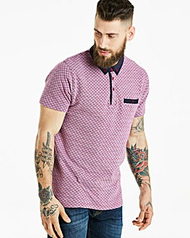 Jacamo Black Label Pink Patterned Polo L