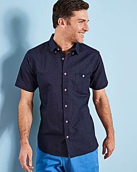 Black Label Printed Linen SS Shirt L
