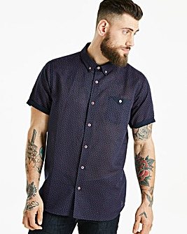 Black Label Printed Linen SS Shirt L
