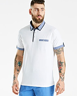 Jacamo Black Label SS Check Trim Polo L
