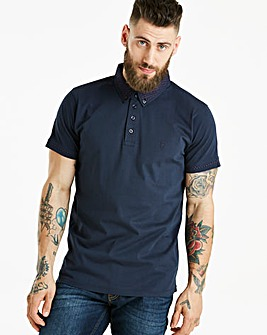 Jacamo Black Label Ditsy Trim Polo Long