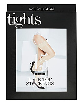 2 Pack 15 Denier Lace Top Stockings