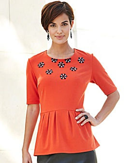 Nightingales Ponte Beaded Flower Top