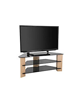 Oak and Black Glass 55 Inch TV Stand.