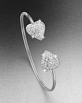 Crystal Glitz Silver Heart Bangle