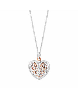 Sterling Silver Caged Heart Necklace