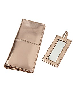 Metallic Rose Gold Cosmetics Pouch