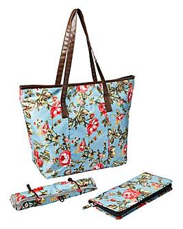 3 Piece Floral Travel Bag Set