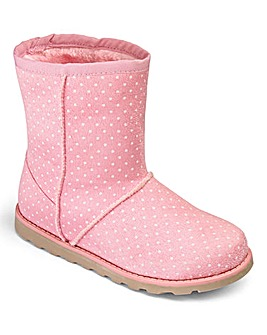 TKD Faux Fur Pull On Girls Boots Std Fit