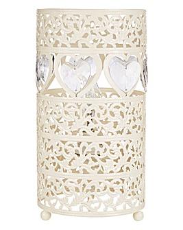 Cream Heart Fretwork Table Lamp