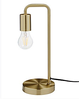 Exposed Bulb Table Lamp Brass