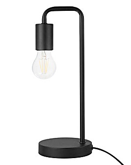 Exposed Bulb Table Lamp Black