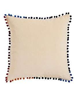 Rainbow Pom Pom Cushion