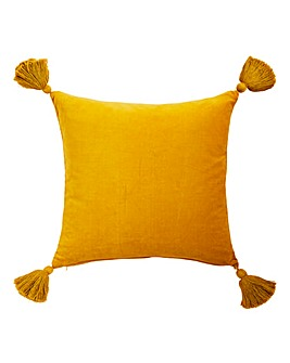 Tassel Ochre Velvet Cushion