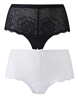 2 Pack Imogen Lace Black/White Shorts