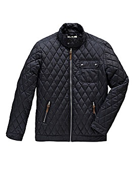 Jacamo Navy Quilted Jacket Long