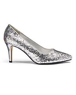 Heavenly Soles Glitter Court Shoes E Fit