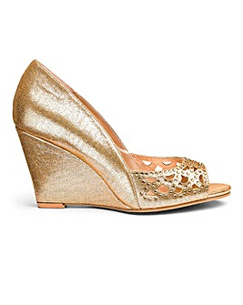 Heavenly Soles Diamante Wedge Shoe E Fit
