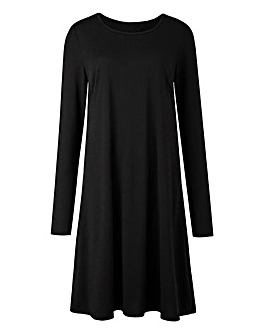 Plain Black Swing Dress