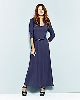 Plain Navy 3/4 Sleeve Jersey Maxi Dress
