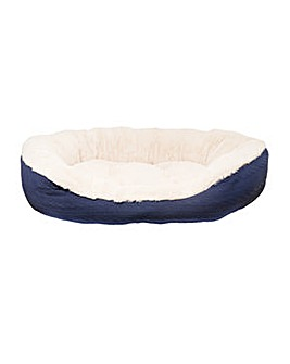 """40 Winks Navy Cable Knit Oval Bed 32"""""""