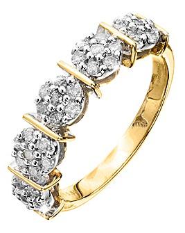 9 Carat Gold 1Ct Half Eternity Ring