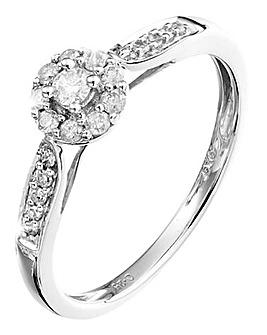 9 Carat White Gold 1/4ct Diamond Ring