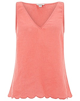 Monsoon Estelle Scallop Linen Top
