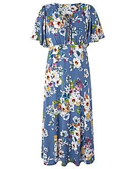 Monsoon Lori Print Lace Up Midi Dress