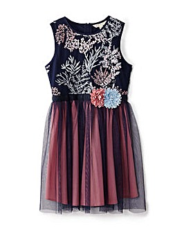 Yumi Girl Floral Embroidered Ombre Dres