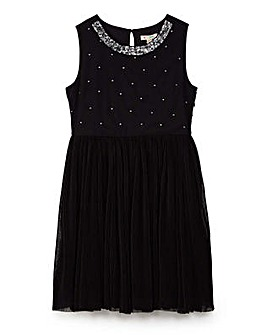 Yumi Girl Sequin Neck Trim Dress with Me