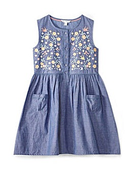 Yumi Girl Birds Embroidered Chambray Dre