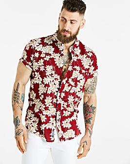 Jacamo S/S Red Print Shirt Long