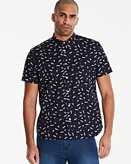 Jacamo S/S Ditsy Print Shirt Regular