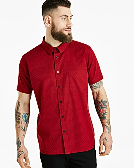 Jacamo S/S Ditsy Print Shirt Long