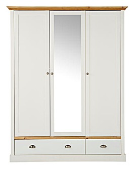 York 3 Door 2 Drawer Mirrored Wardrobe