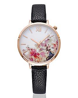 Ladies Floral Print Dial Watch