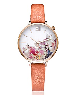 Ladies Floral Print Dial Watch