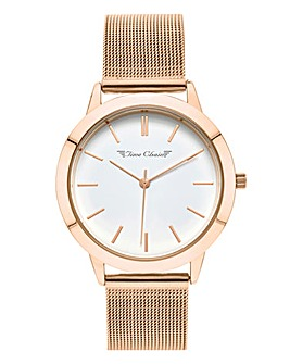 Time Chain Rose Tone Mesh Watch