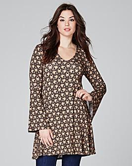 Camel Print Bell Sleeve Tunic