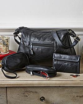 Black 4 Piece Patchwork Leather Bag Set