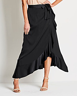 Frilled Edge Mock Wrap Satin Maxi Skirt