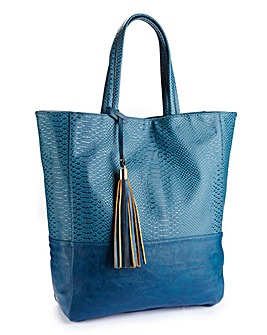 Animal Skin Teal Shopper Bag