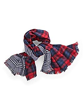 Double Sided Tartan Houndstooth Scarf