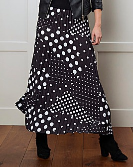 Spot Print Pleat Maxi Skirt