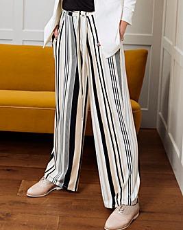 Stripe Wide Leg Tie Waist Jersey Trouser