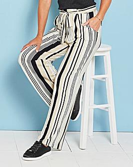 Stripe Tie Waist Wide Leg Jersey Trs Reg