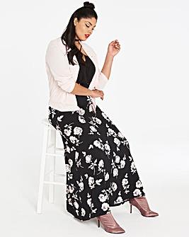 Floral Print Stetch Jersey Maxi Skirt