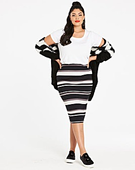Stripe Stretch Jersey Midi Tube Skirt