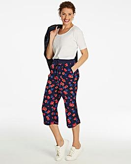 Floral Slouch Linen Mix Crop Trousers
